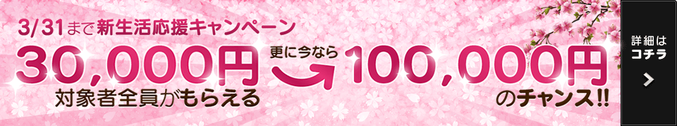 3/31まで新生活応援キャンペーン 対象者全員がもらえる30,000円 更に今なら100,000円のチャンス! お問い合わせ対象期間:2017年3月1日(水)から2017年3月31日(金)