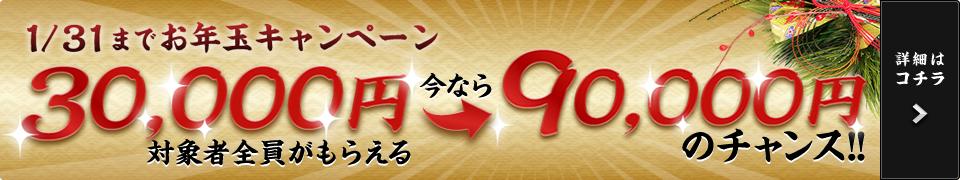 1/31までお年玉キャンペーン 対象者全員がもらえる30,000円 更に今なら90,000円のチャンス! お問い合わせ対象期間:2016年12月26日(月)から2017年1月31日(火)